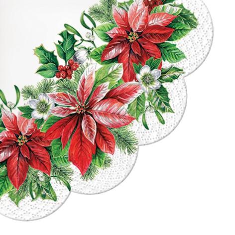 Napkins - Round - Glory Poinsettia