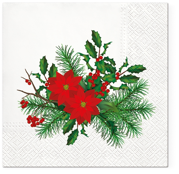 Napkins 33x33 cm - Poinsettia with Holly
