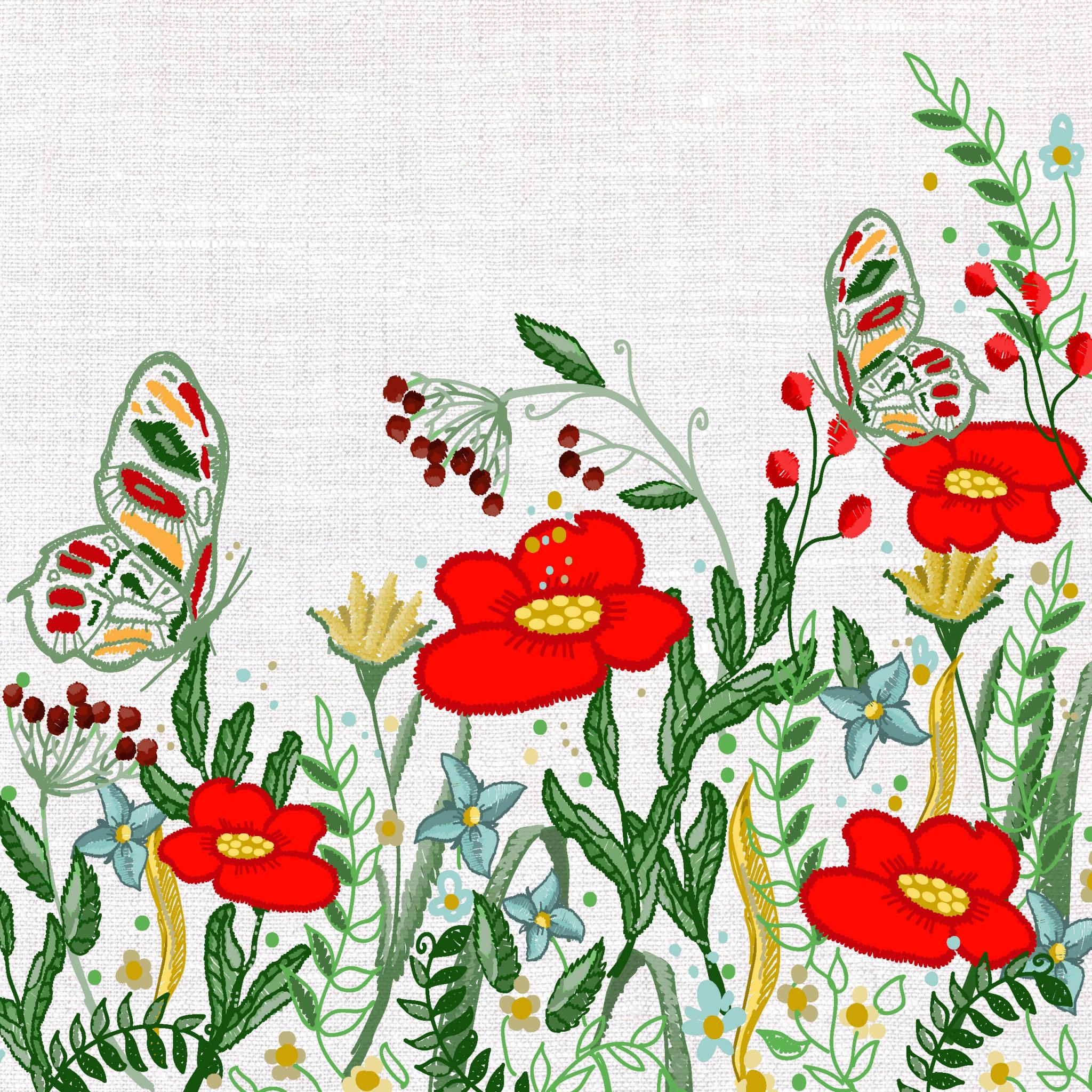 Napkins 33x33 cm - Poppies