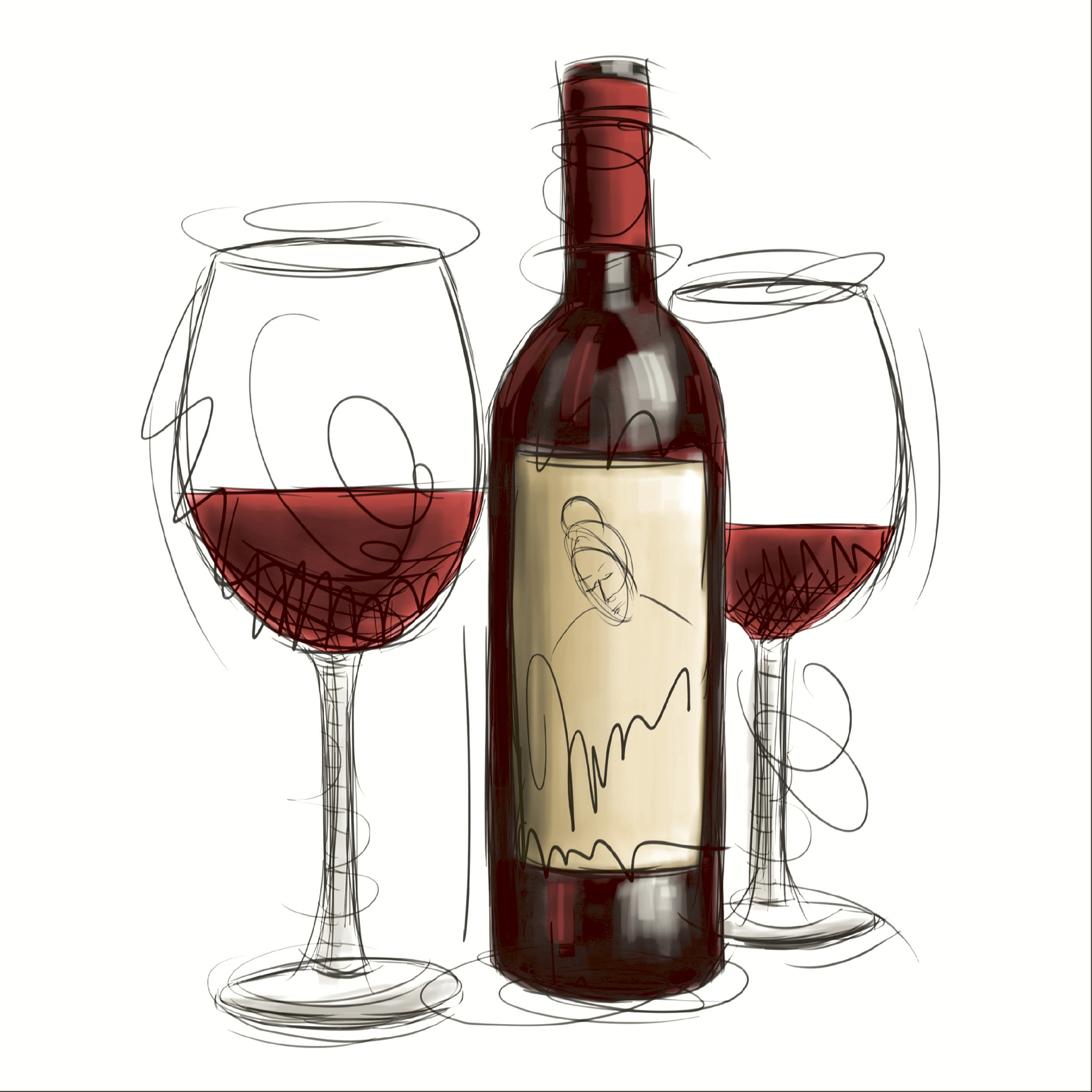 Napkins 24x24 cm - Vino rosso