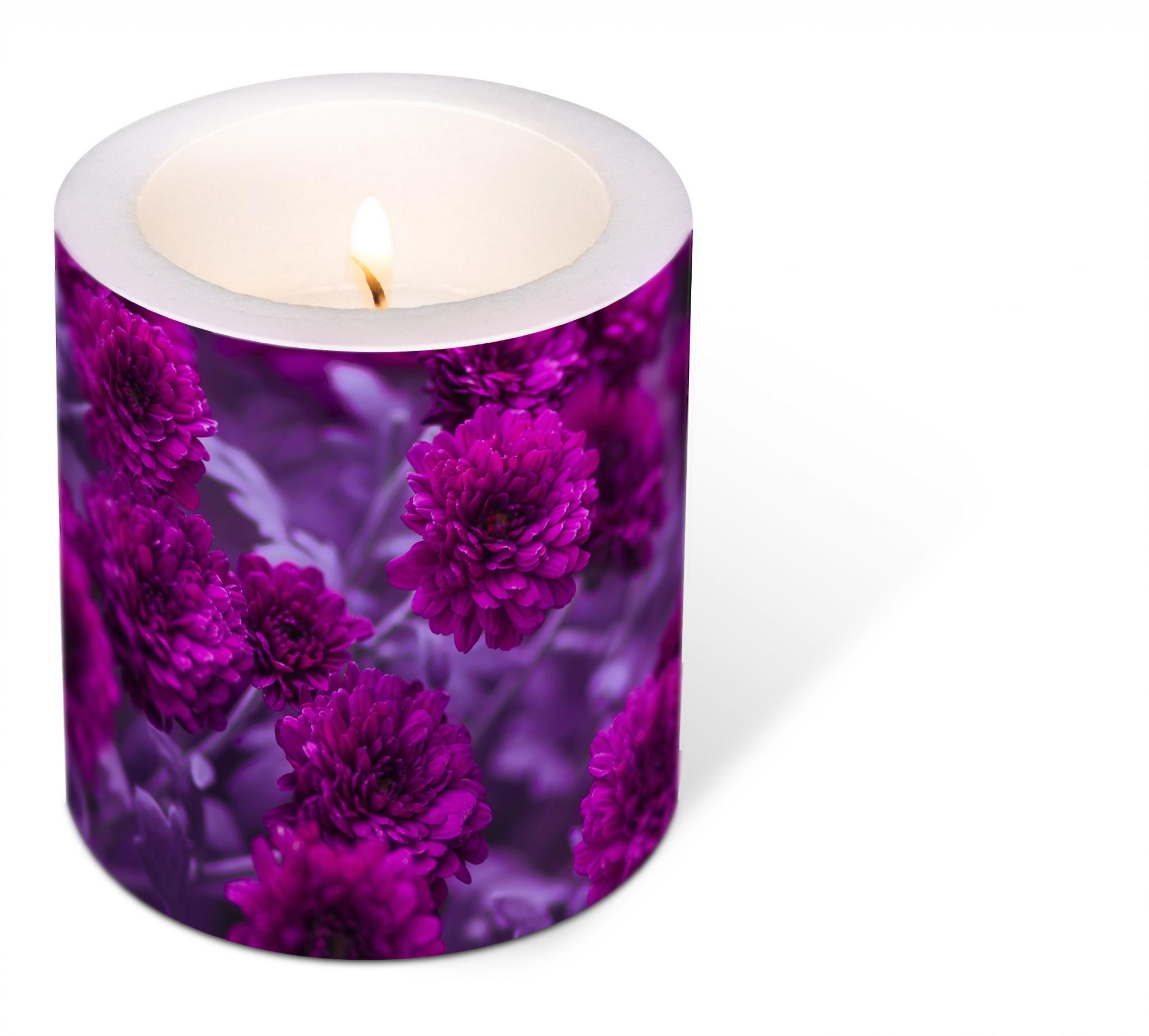decorative candle - Decorated Fuchsia Flowers