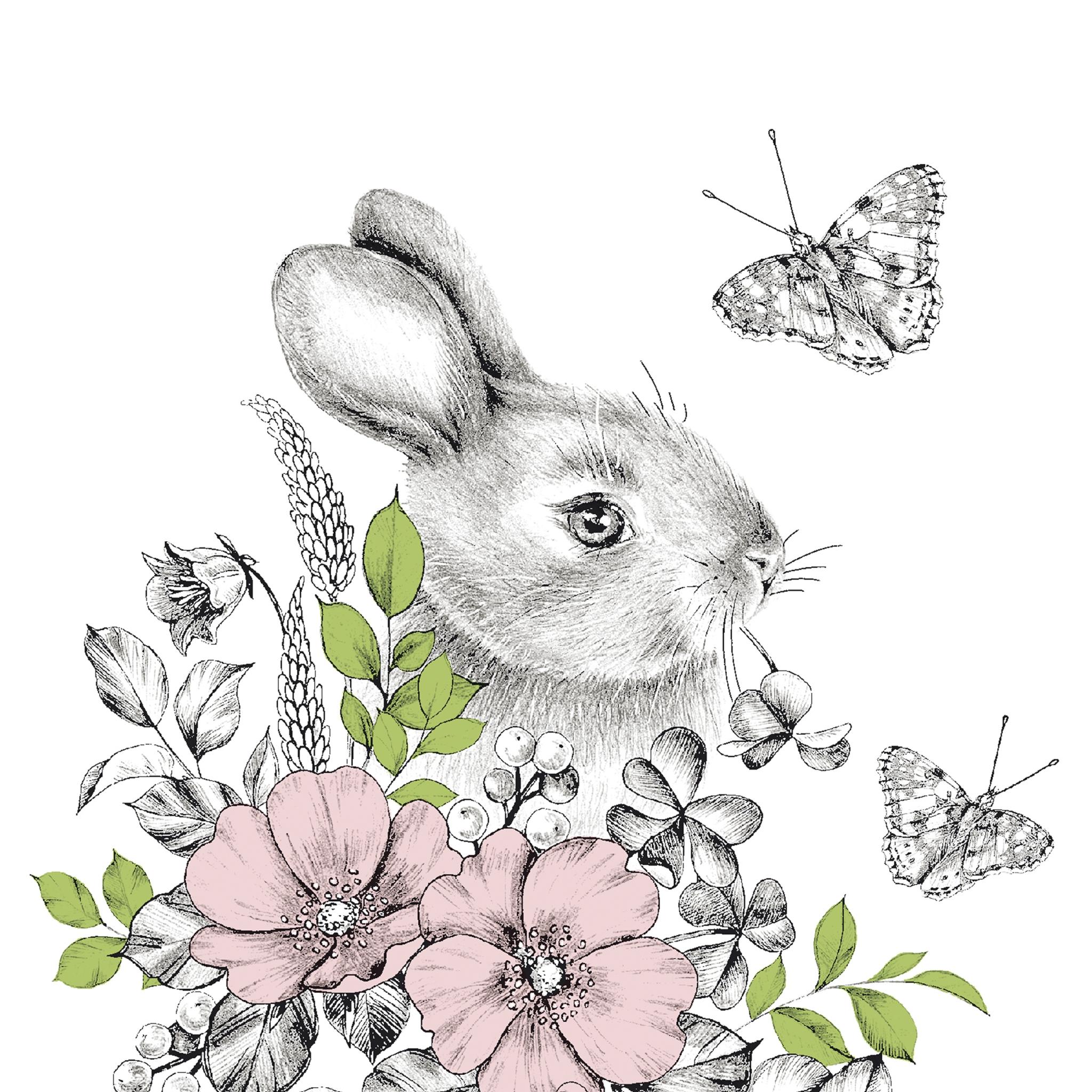 Napkins 33x33 cm - Graphite bunny