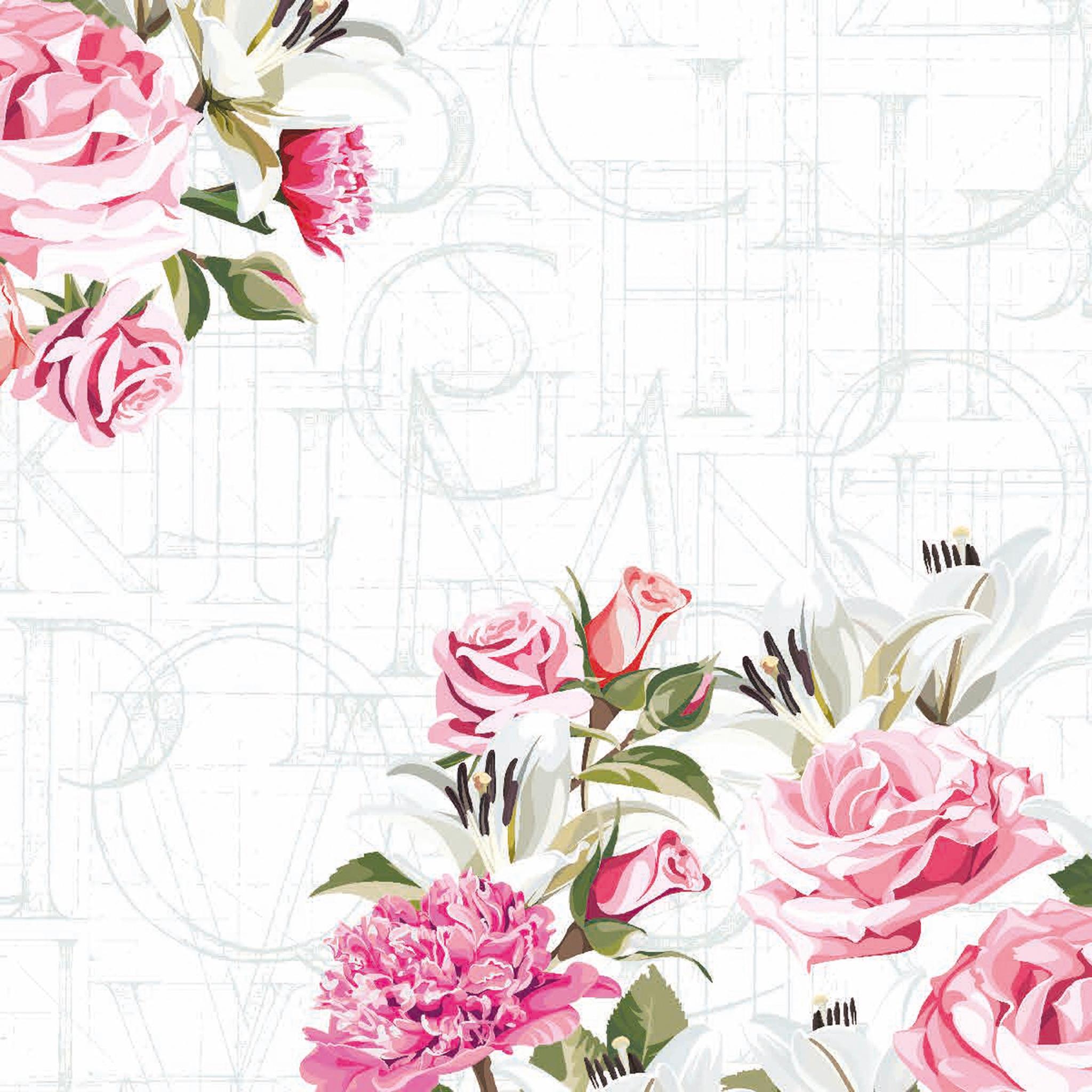 Tovaglioli 24x24 cm - Rose letters