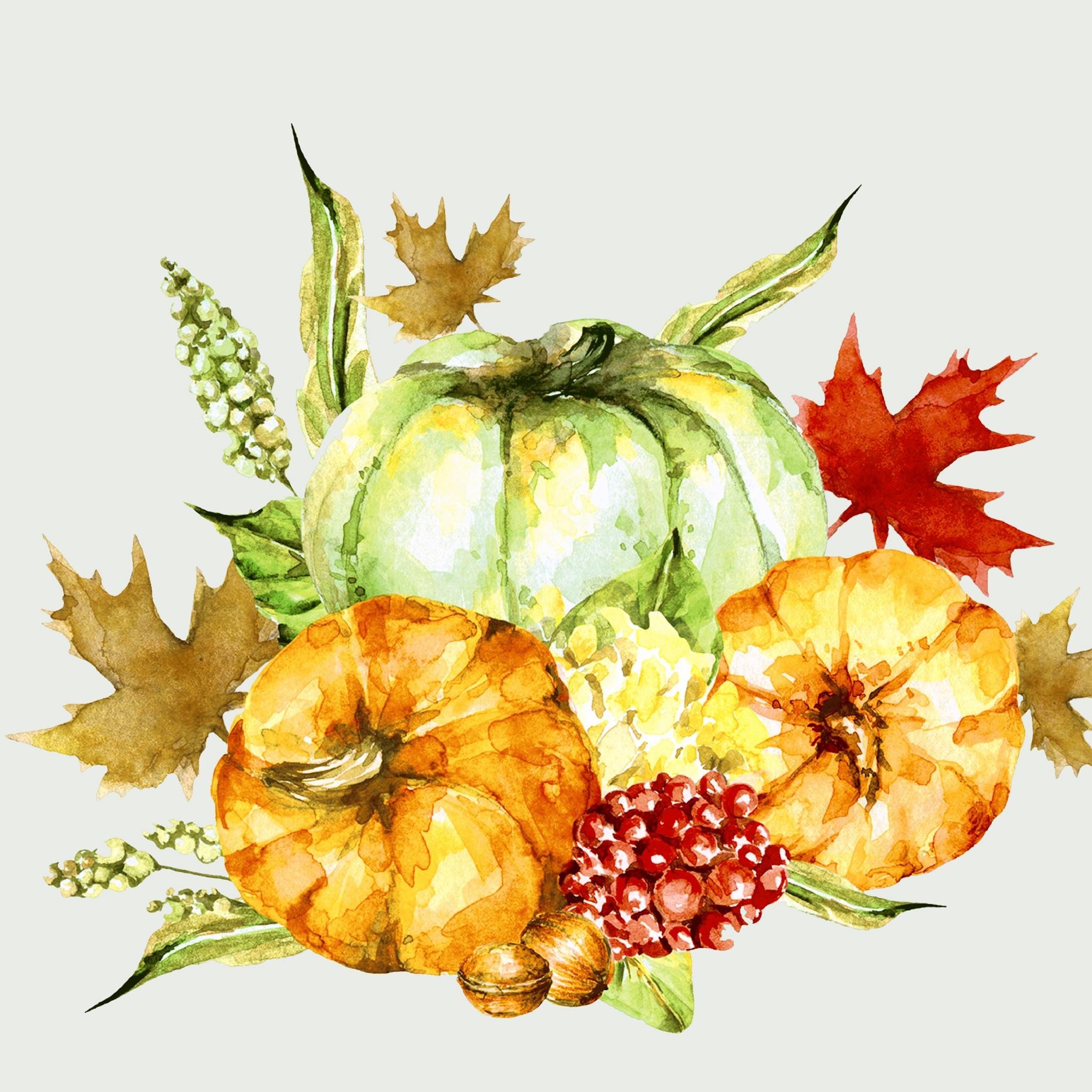 Napkins 33x33 cm - Watercolor pumpkins