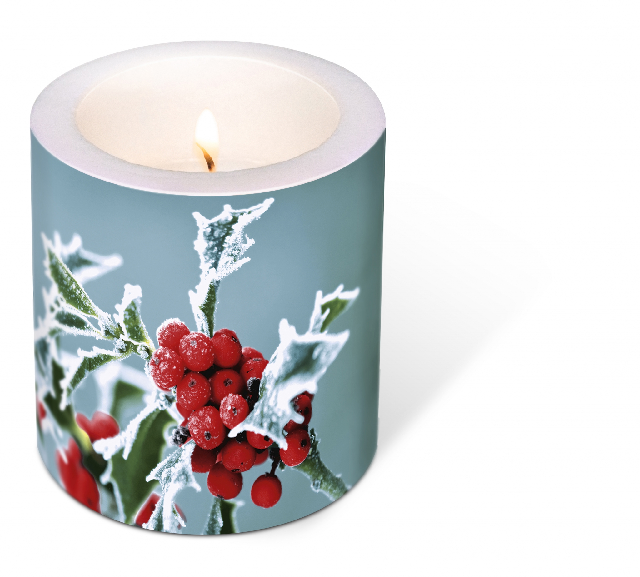 decorative candle - Decorated Frosty holly