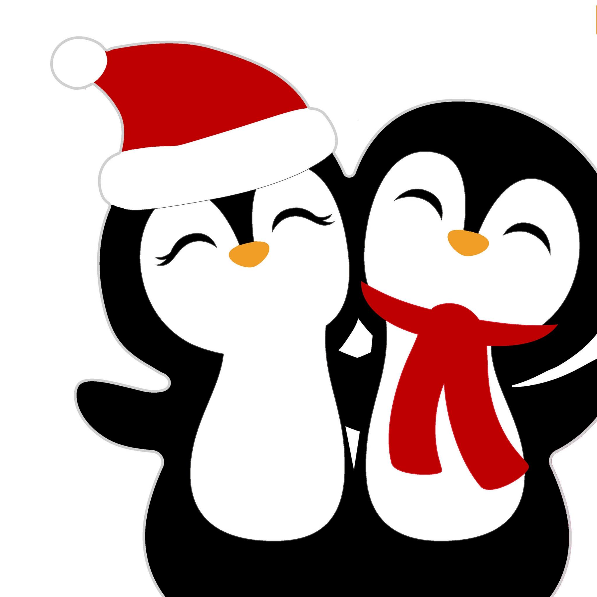 Die-cut napkins - Silhouettes Penguin Santas