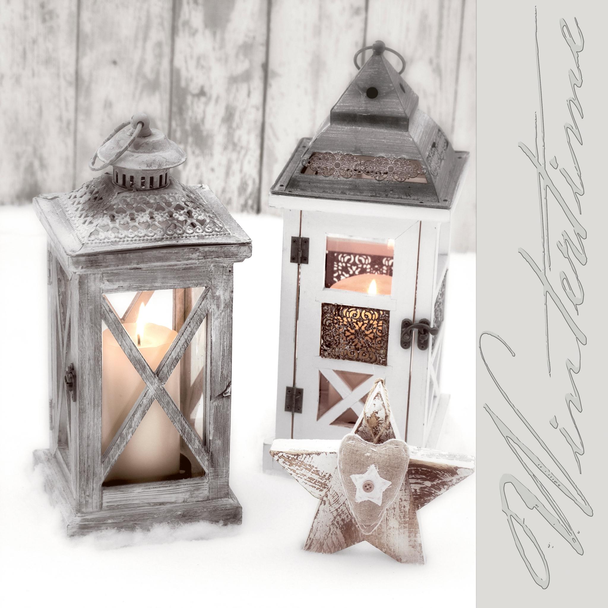 Napkins 33x33 cm - Wooden lanterns
