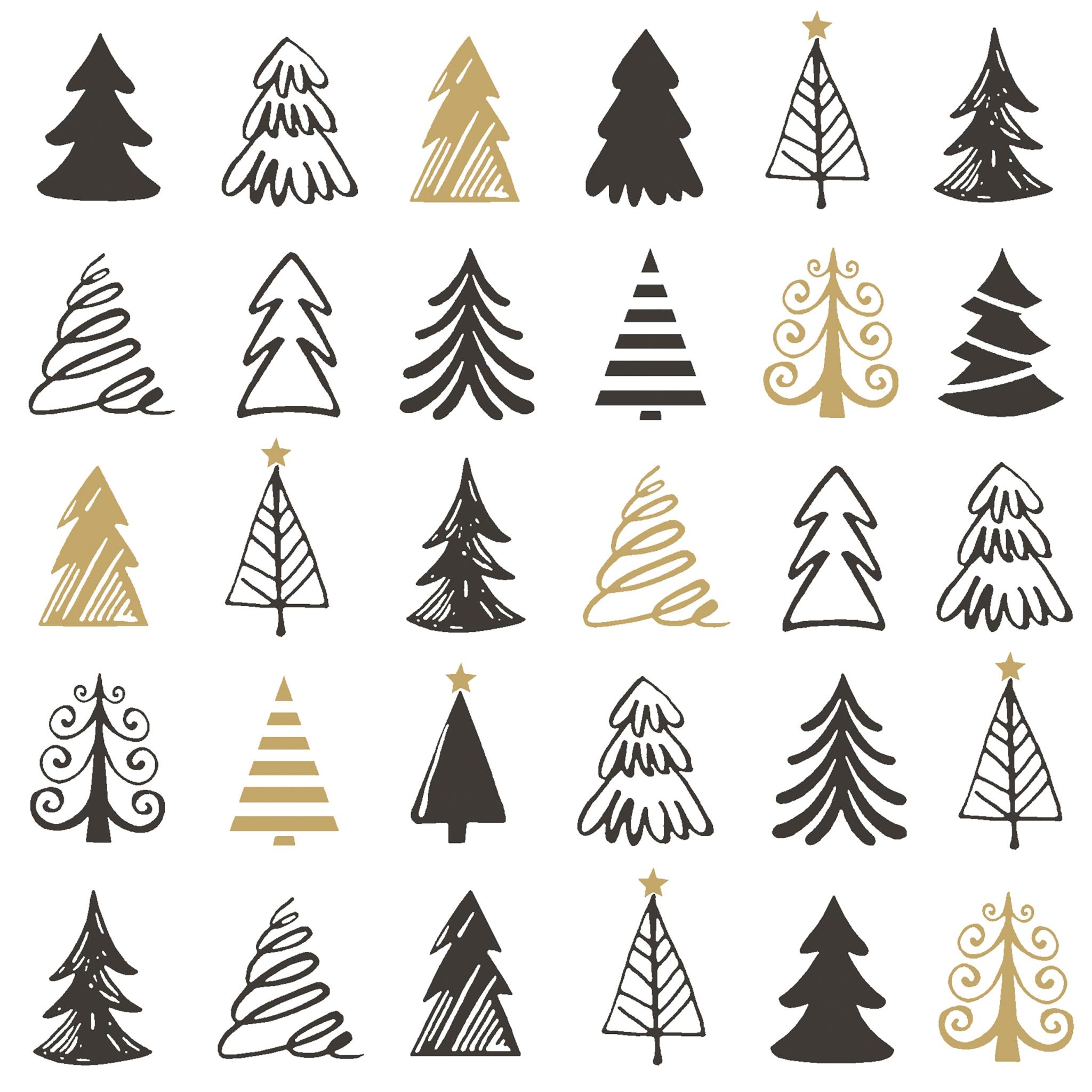 Napkins 33x33 cm - Graphical trees
