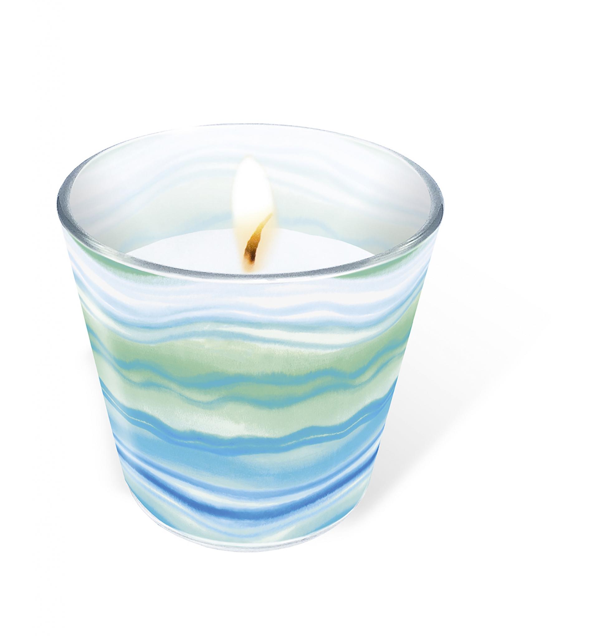 Glaskerze - Blue waves