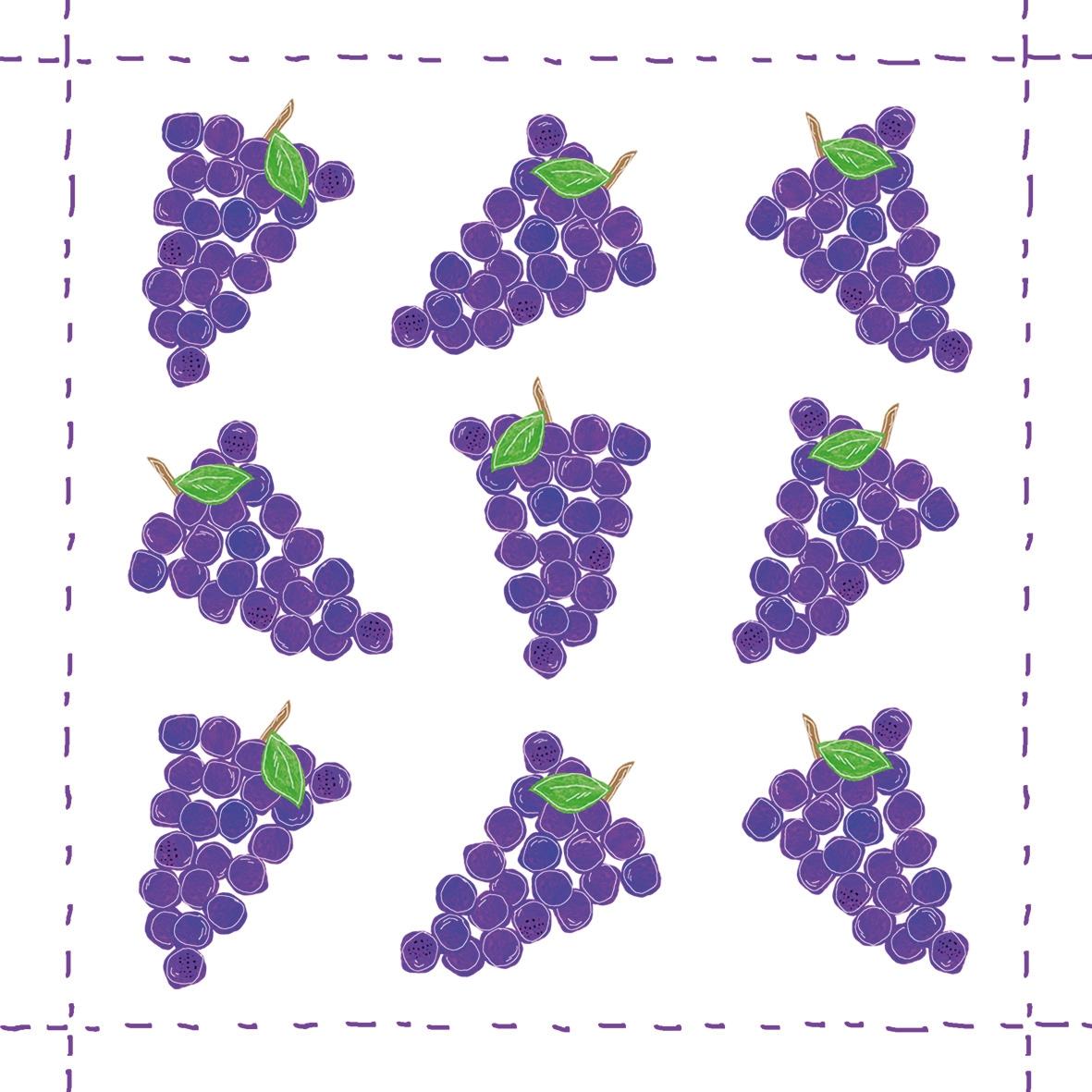 Napkins 25x25 cm - Fashion Grapes allover purple