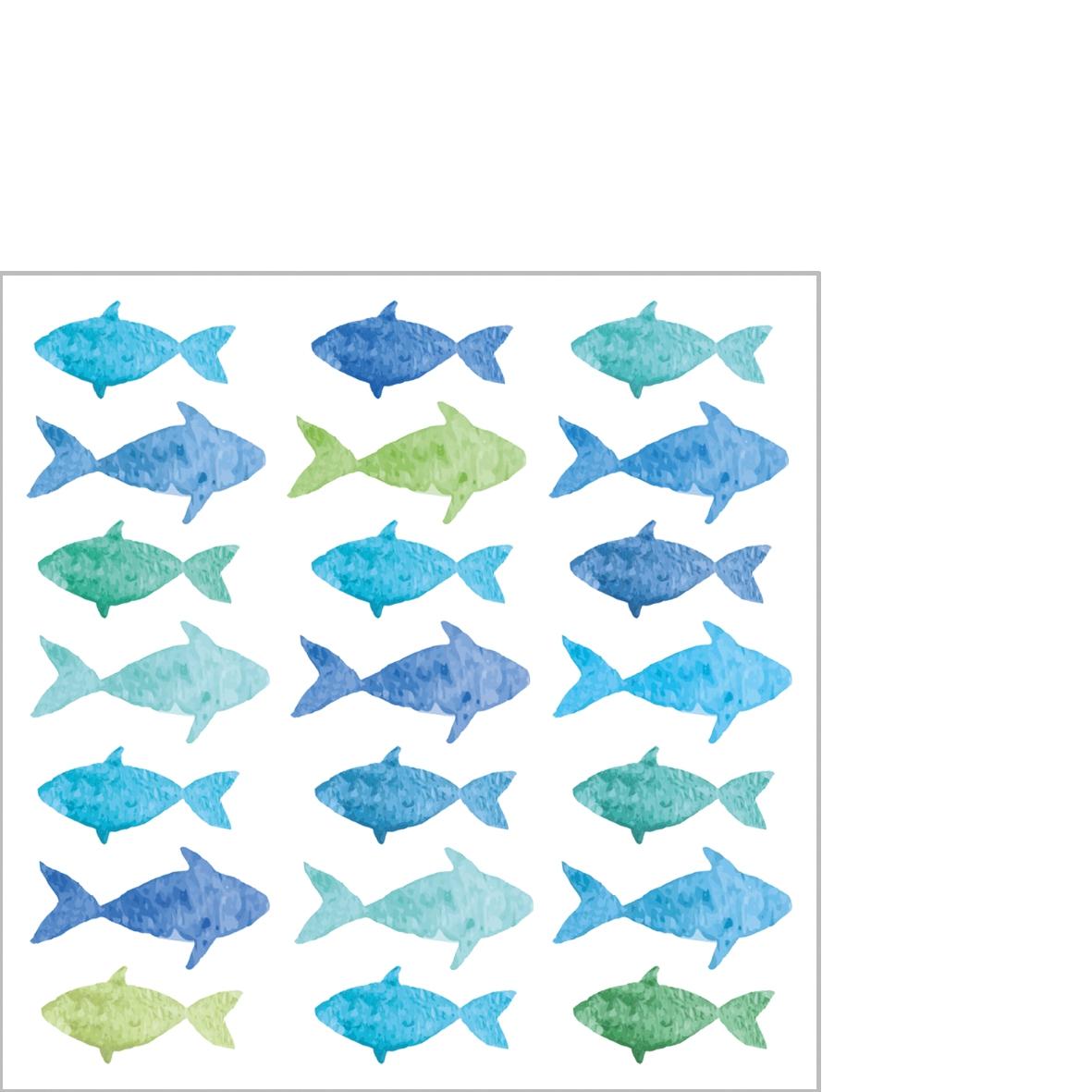 Napkins 25x25 cm - Aquarell Fishes
