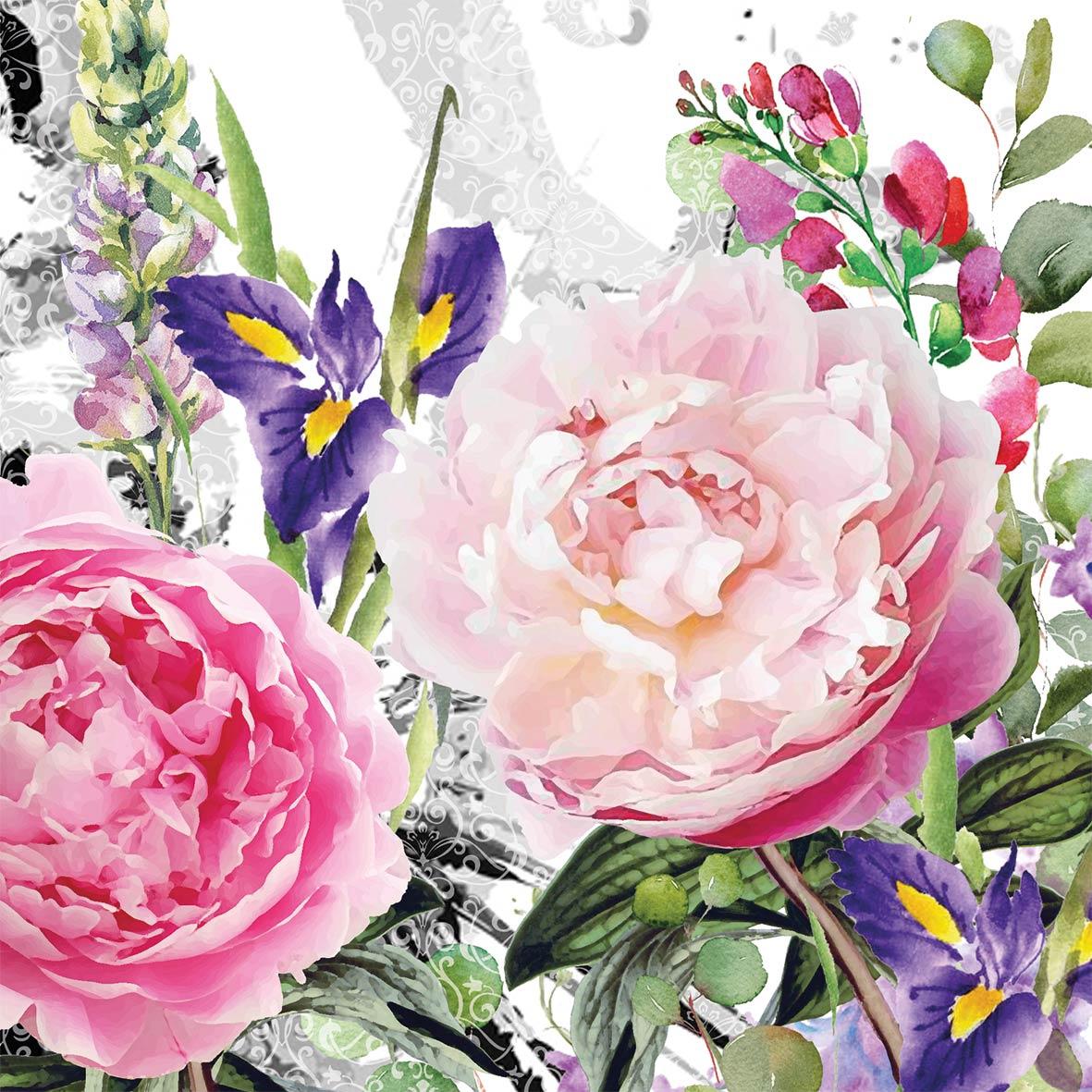 Napkins 25x25 cm - Jardin des roses Napkin 25x25