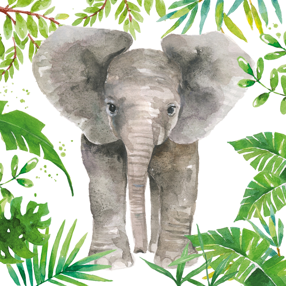 Servilletas 33x33 cm - Tropical Elephant