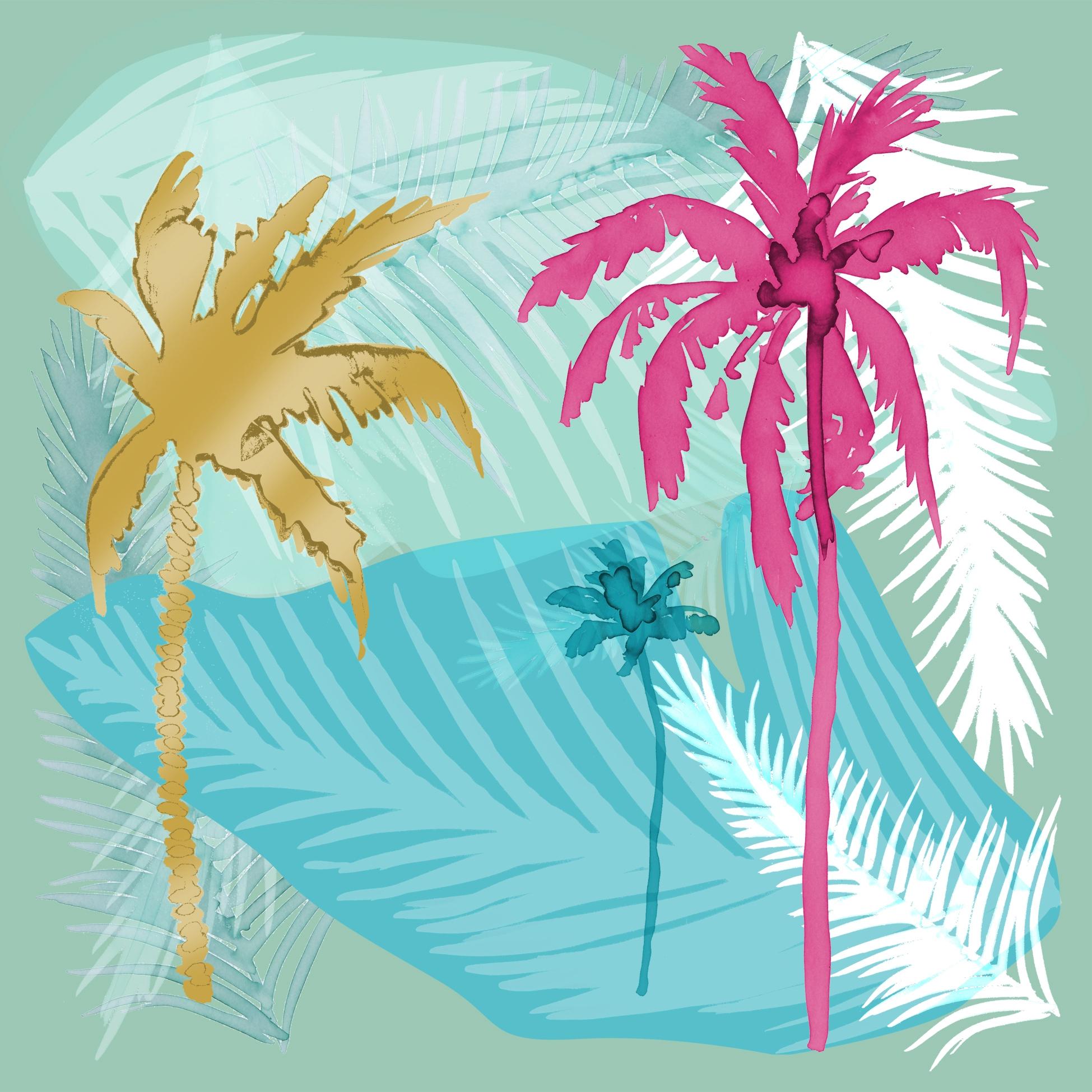 Napkins 33x33 cm - Palm Trees on Linen turquoise
