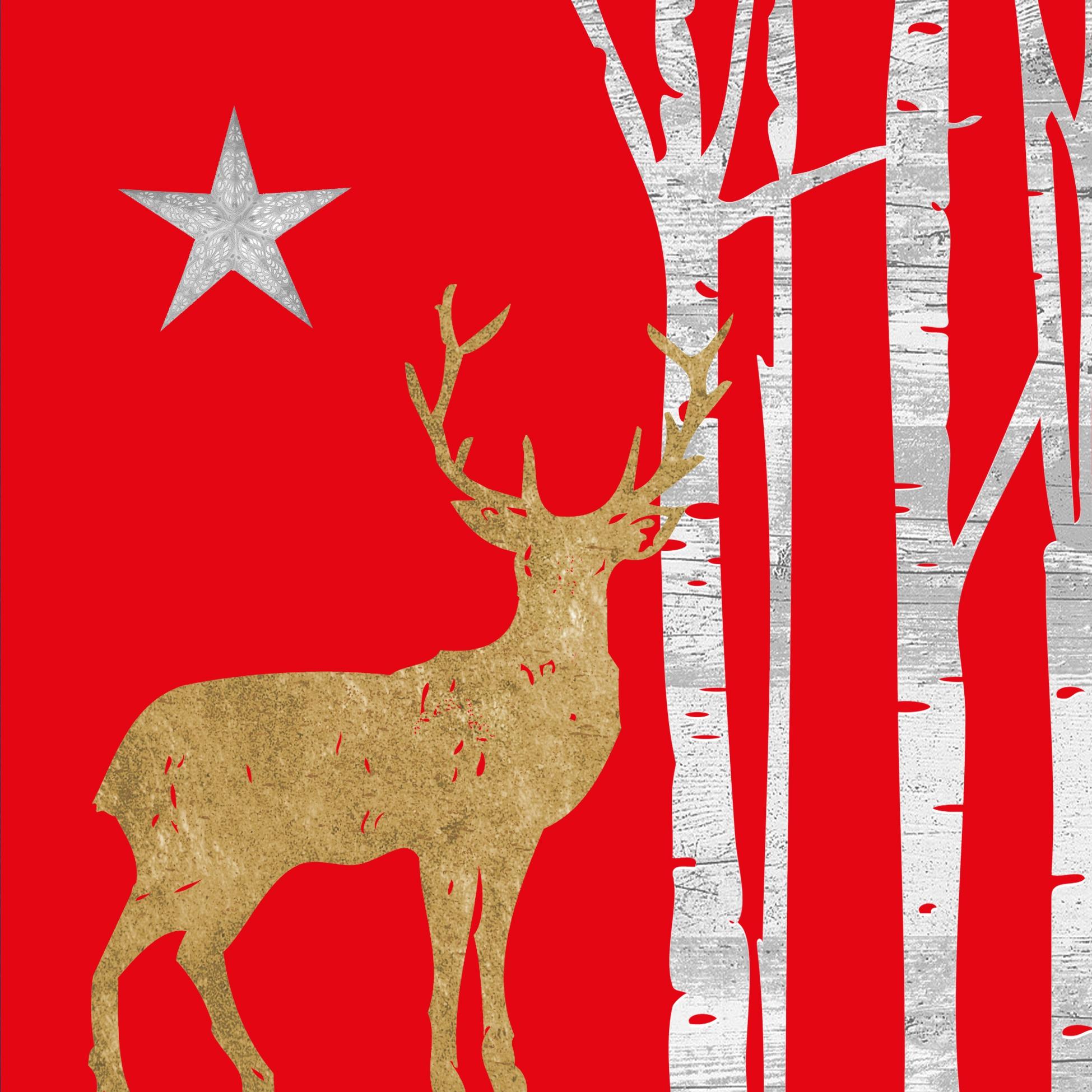 Napkins 33x33 cm - Mystic Deer red