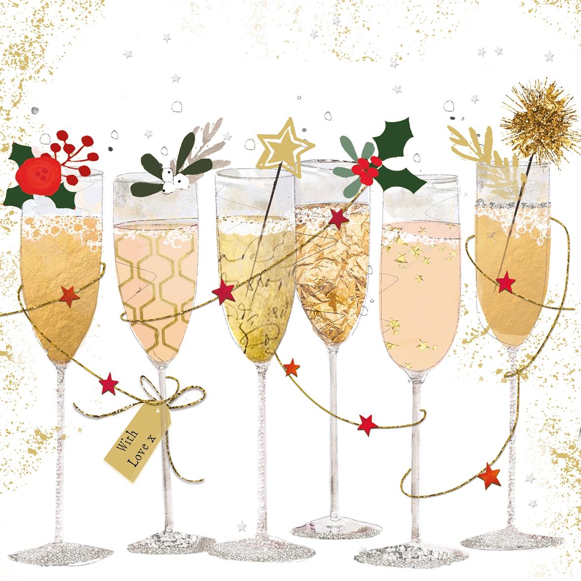 Napkins 33x33 cm - Champagne Glasses