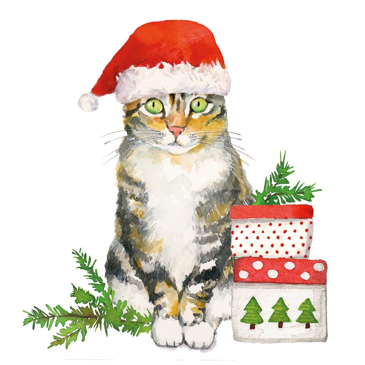 Servilletas 33x33 cm - Christmas Kitty Napkin 33x33