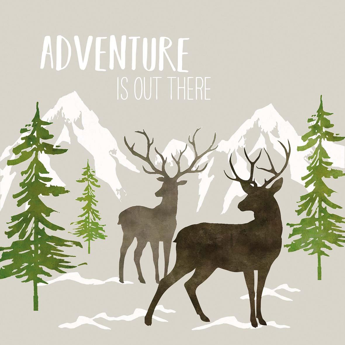 Servilletas 33x33 cm - Adventure Deer taupe