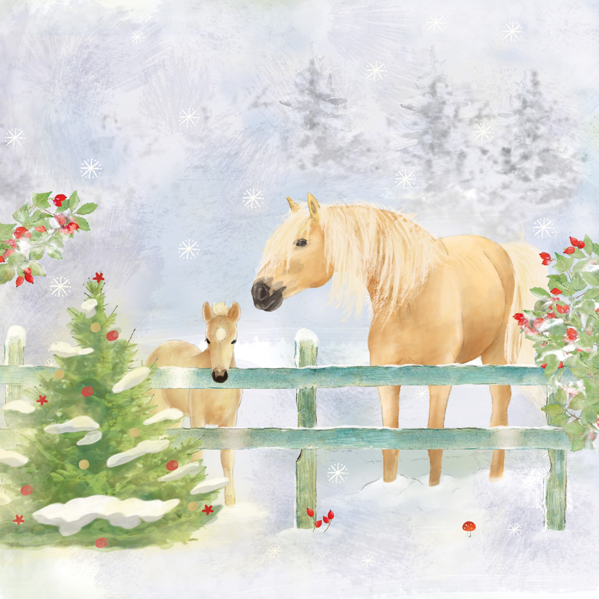 Servietten 33x33 cm - Christmas Horses