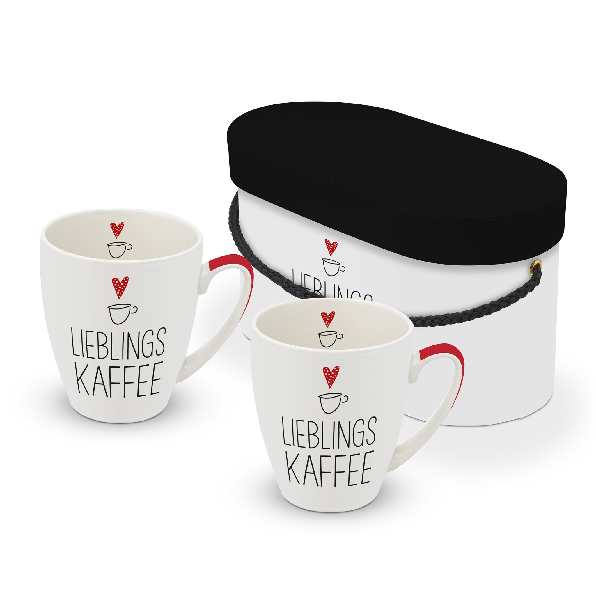 Porcelain cup with handle - Set Lieblingskaffee