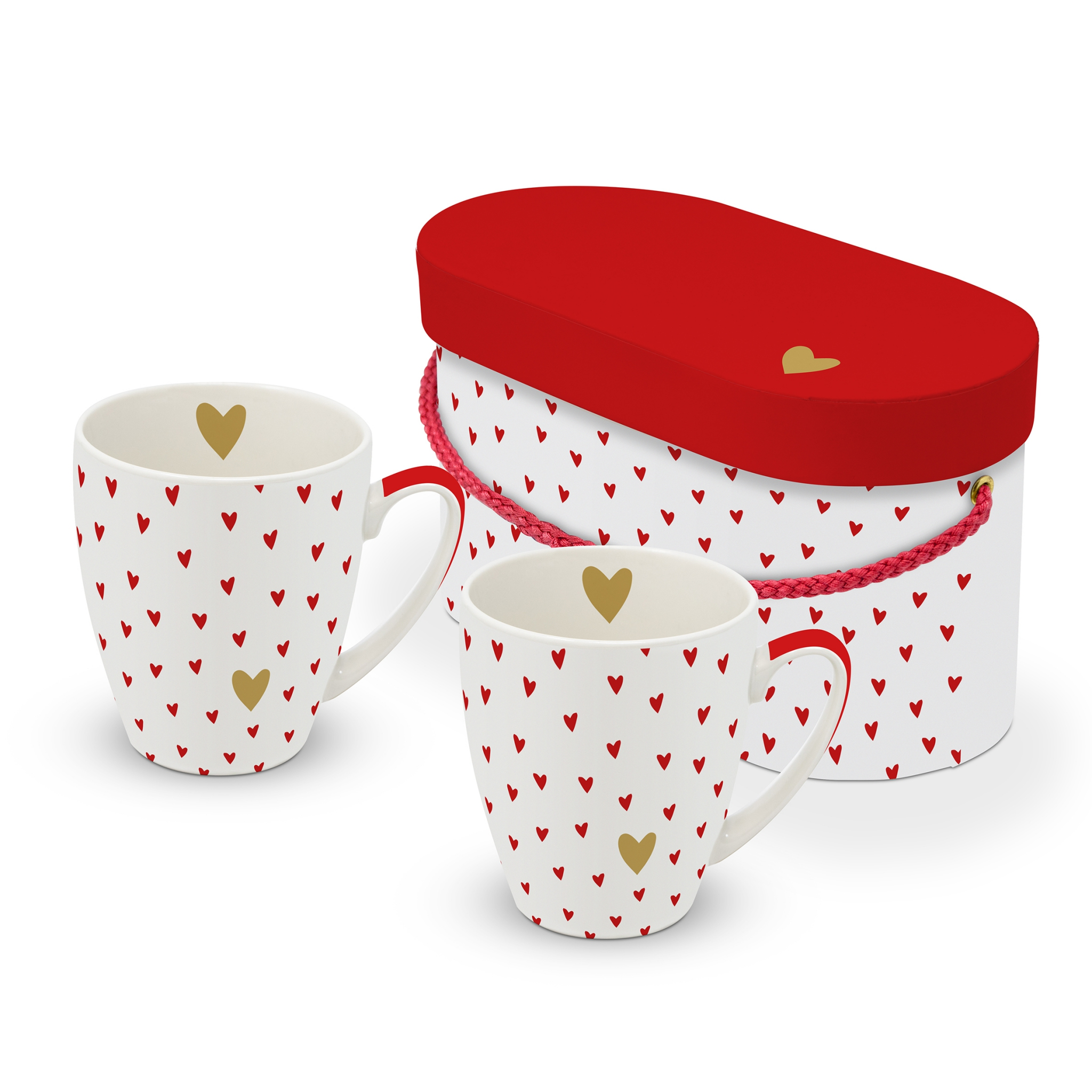 Porcelain cup with handle - Set Little Hearts real gold