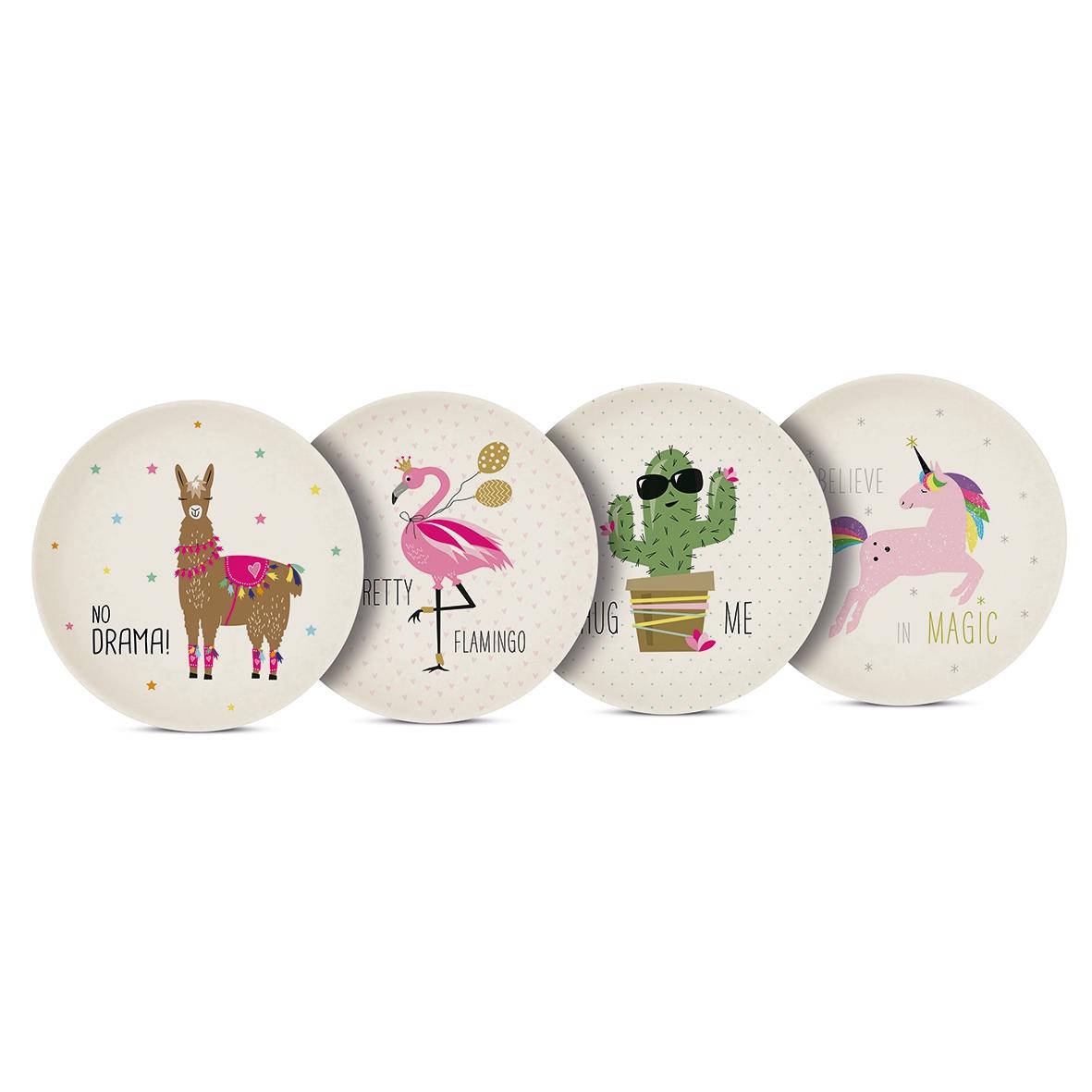 Bamboo plate - Pink Unicorn & Friends Set of 4