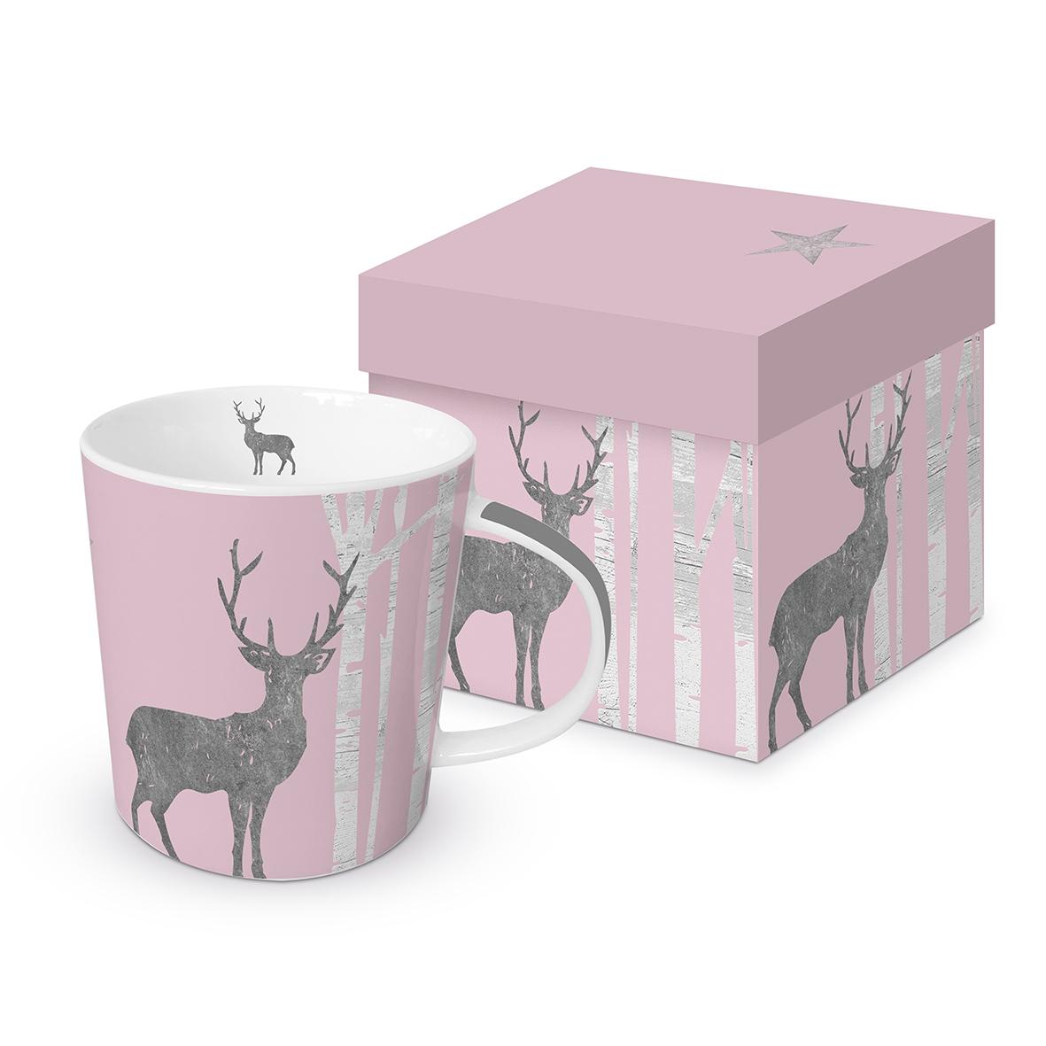 Porcelain cup with handle - Mystic Deer rosé real platinum