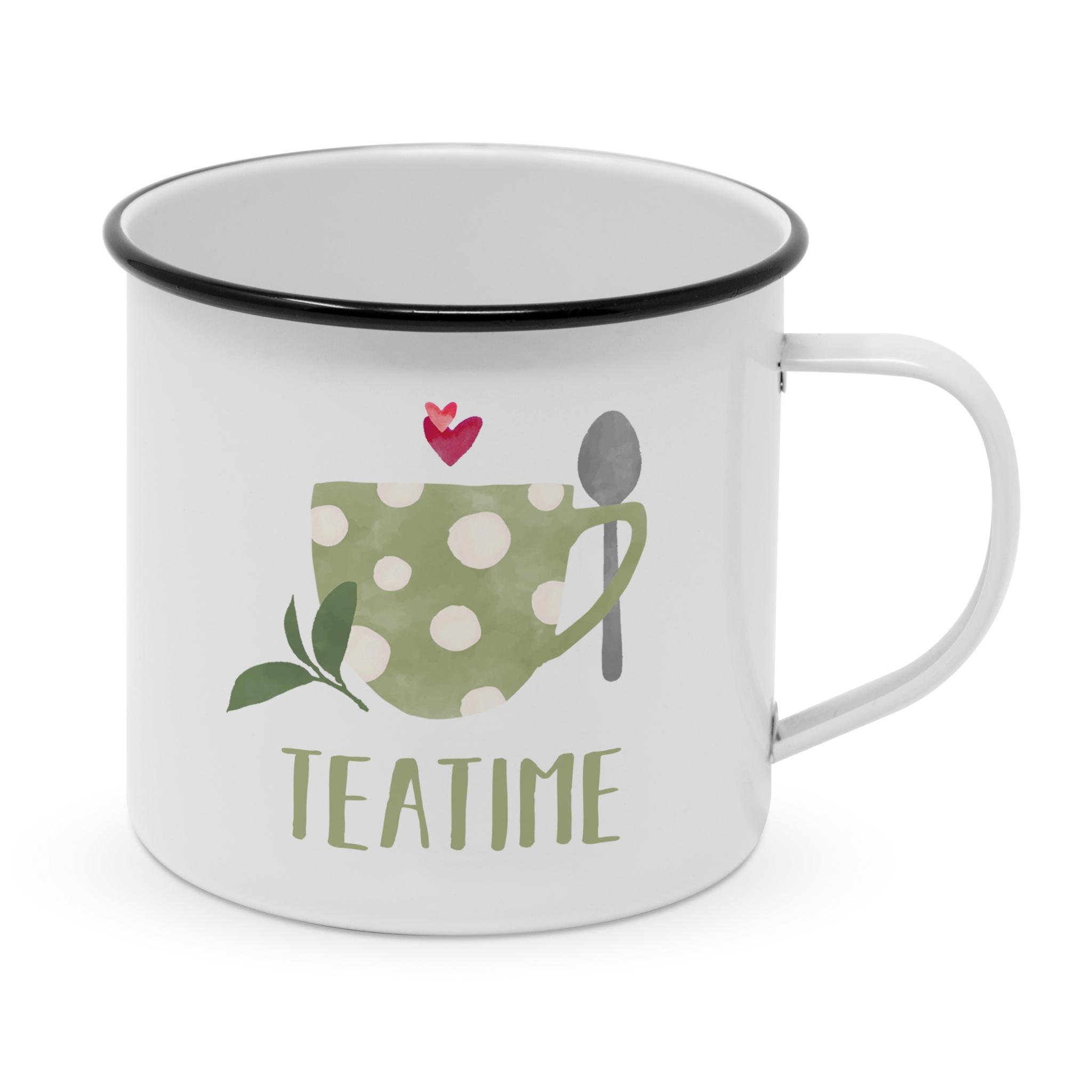 Tazza in metallo - Happy Metal Mug Tea Time
