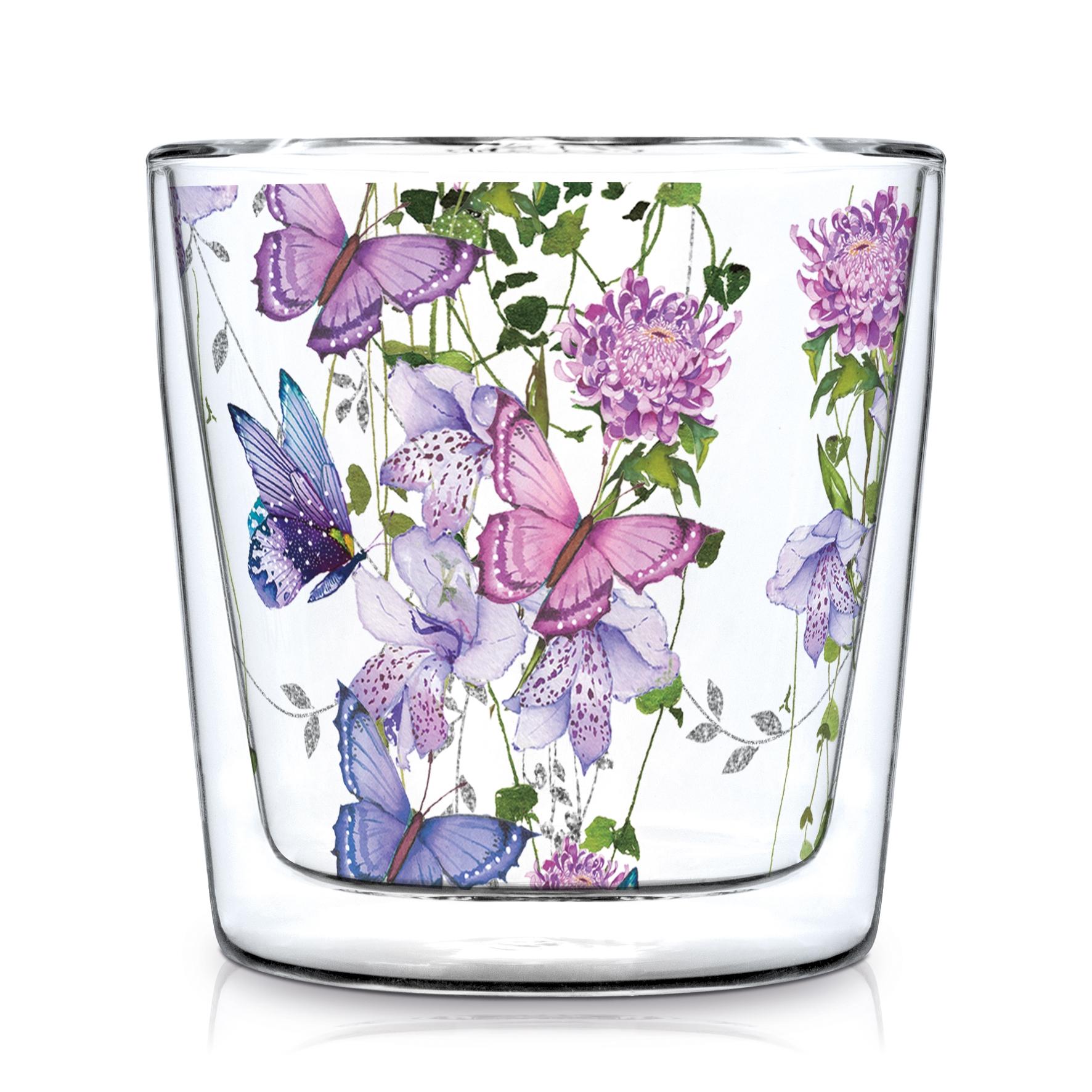 Double wall glass - Flower Splash