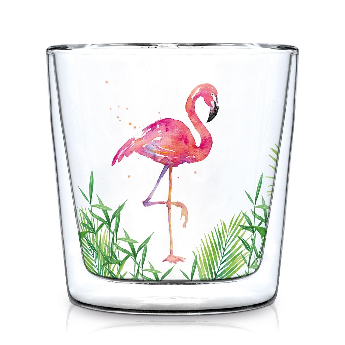 双层玻璃 - Doublewall Trendglass Tropical Flamingo