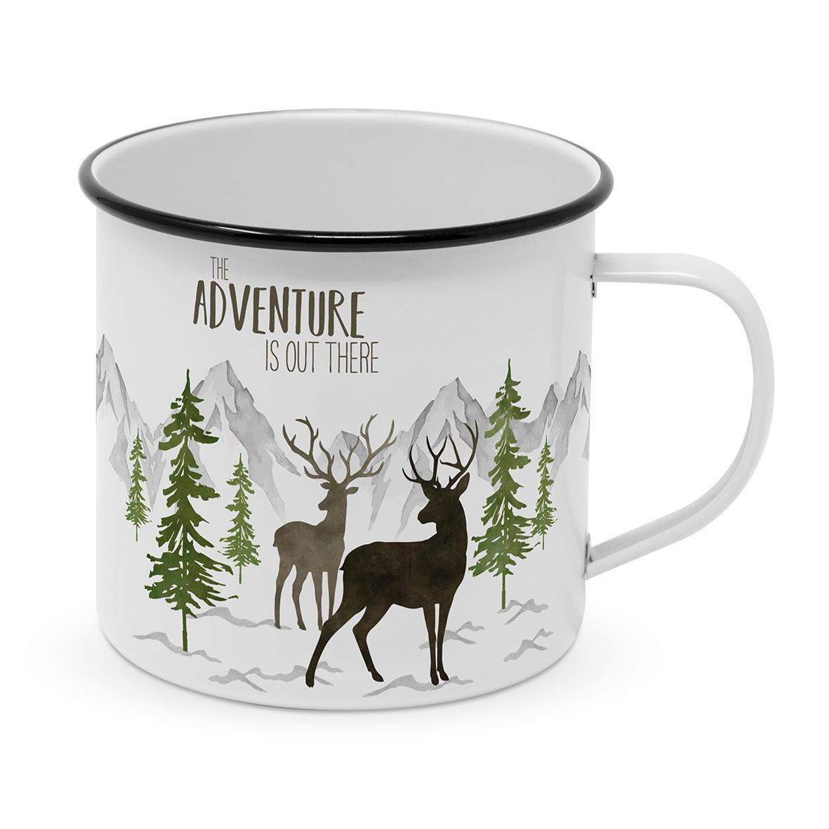 Metal Cup - Adventure Deer white Mug