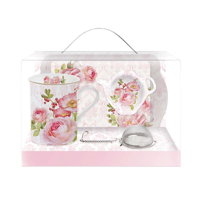 Porcelain cup with handle - Floral Damask
