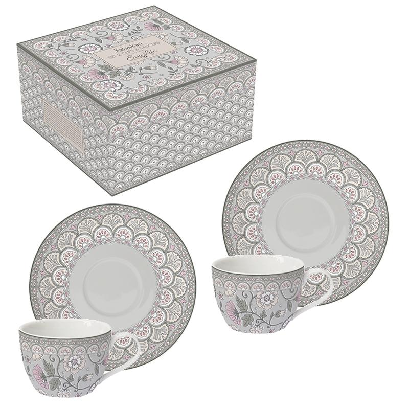 Taza de porcelana - Kalamkari gray