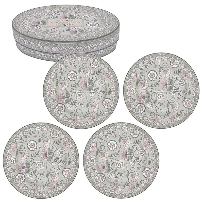 Plato de porcelana de 19 cm. - Kalamkari gray