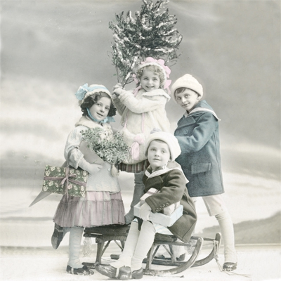 Servilletas 33x33 cm - Children with Christmas Tree