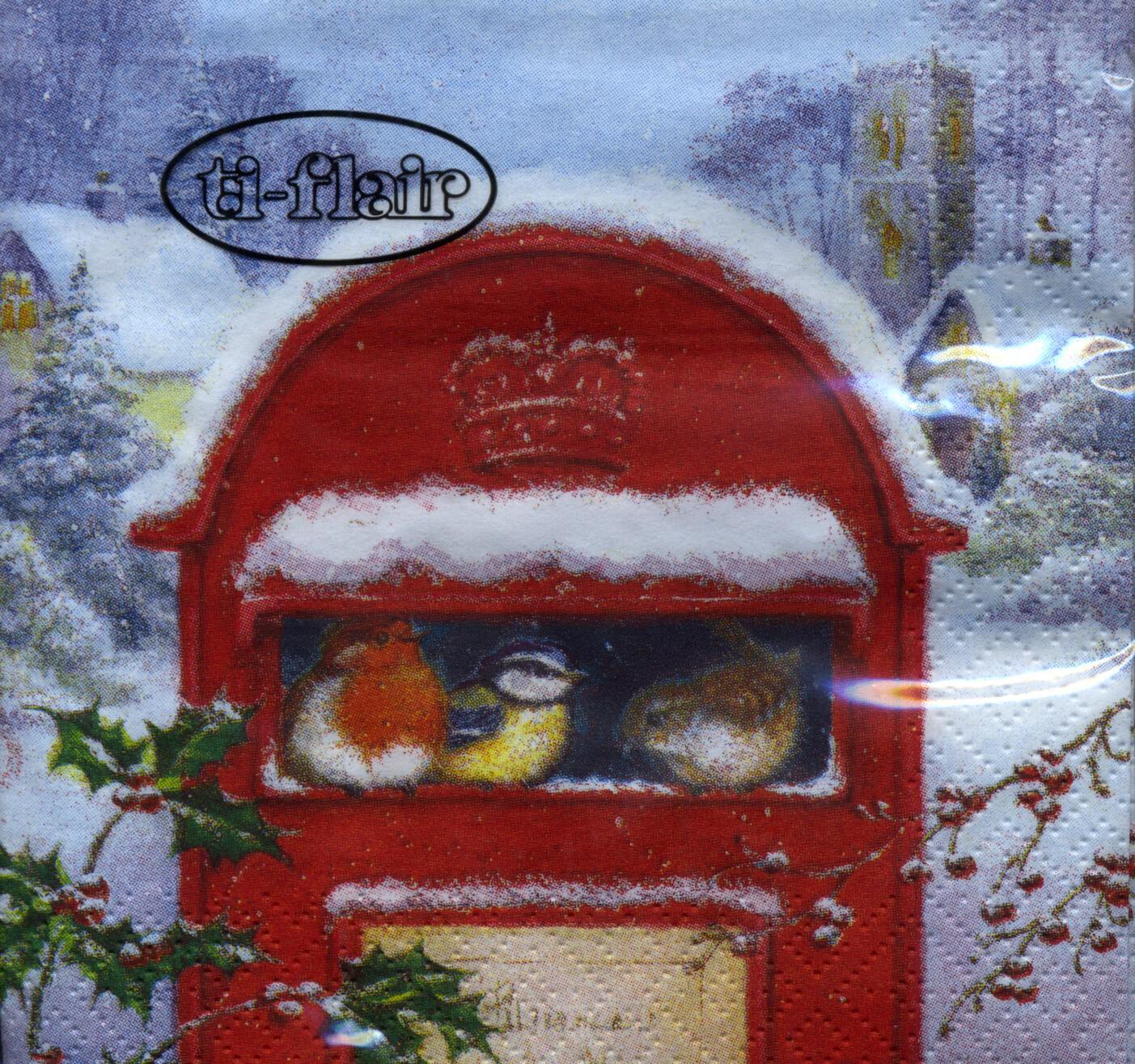 Napkins 24x24 cm - Red Post Box