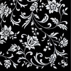 Napkins 24x24 cm - Arabesque Black black-white