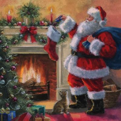 Napkins 33x33 cm - Santa placing Presents in Stockings