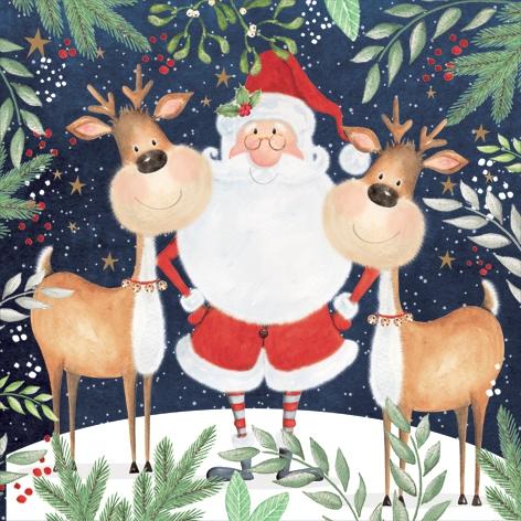 Napkins 33x33 cm - Santa & Funny Reindeers