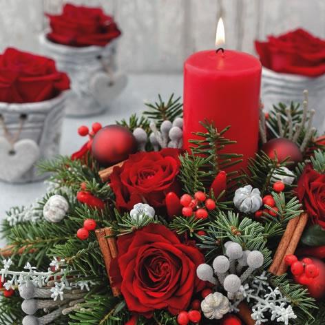 Servilletas 33x33 cm - Candela Rossa di Natale