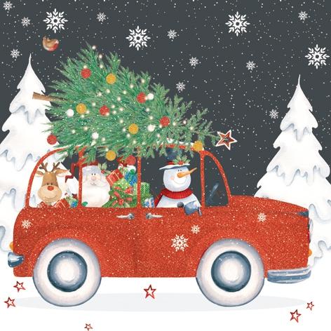 Napkins 33x33 cm - Red Christmas Car