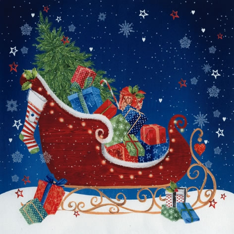 Servilletas 33x33 cm - Sleigh at Christmas Eve