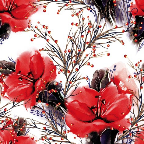Servilletas 33x33 cm - Two Amaryllis red