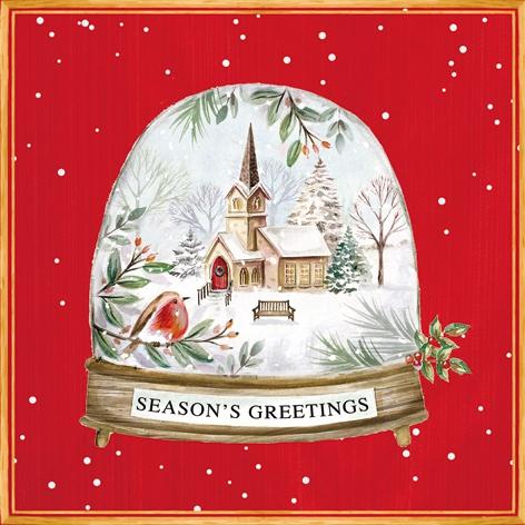 Servilletas 33x33 cm - Seasons Greetings in a Snow Globe