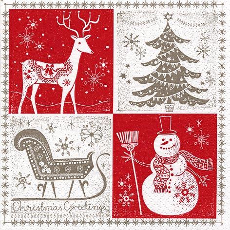 Napkins 33x33 cm - Christmas Greetings red/taupe