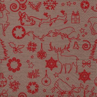 Napkins 33x33 cm - Seasonal Icons beige/red