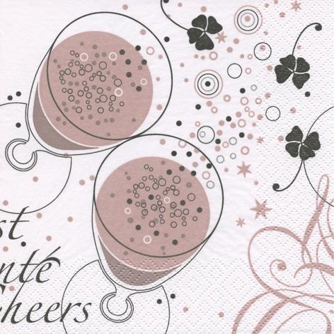 Napkins 33x33 cm - Santé shiny rosé