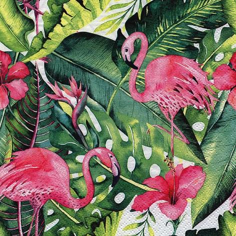 Napkins 33x33 cm - Flamingo & Hibiscus