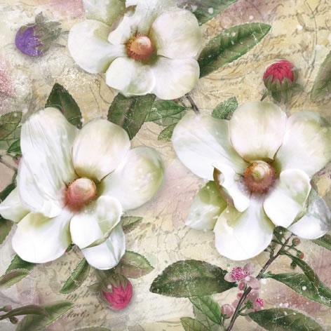 Servietten 33x33 cm - Trois Magnolias Blanc