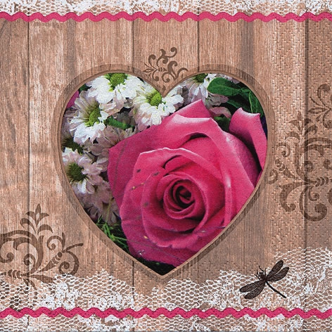 Napkins 33x33 cm - Coeur Rose Rustique pink
